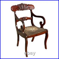Antique Duncan Phyfe Victorian Carved Mahogany Floral Chair