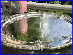 Antique EXTRA-LARGE English Silver Plate Oval Tray with Butlers Stand
