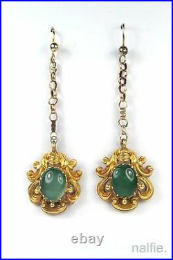 Antique Early Victorian English 18k Gold Green Chalcedony Necklace & Earrings