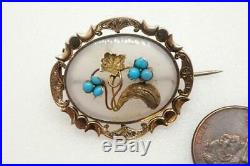 Antique Early Victorian English 9k Gold Chalcedony Turquoise Floral Brooch C1840