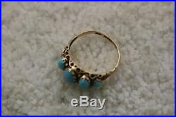 Antique English 1849 Turquoise 9k Gold Ring Early Victorian 5 stones Size 6