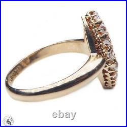 Antique English 18ct gold emerald & diamond navette ring Victorian Chester 1900