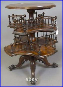 Antique English 3 Tier Graduated Burl wood Mahogany Revolving Bookcase