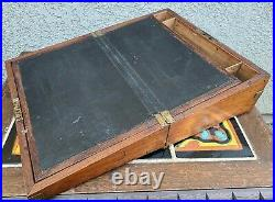 Antique English Anglo Indian Teak Campaign Writing Slope Desk Folding 19th c