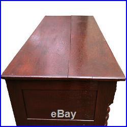 Antique English Barley Twist Victorian Oak Sideboard Buffet Server