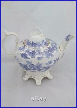 Antique English Bone China Pear Shaped Tea Set Printed Grape Vine Lilac c 1855