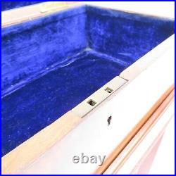 Antique English Burl Wood Lap Desk Box on Stand 19th Century Fine Quality Inlaid