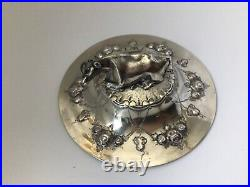 Antique English Butter Dish withCow Finial, Martin & Hall Sterling & Glass, 7