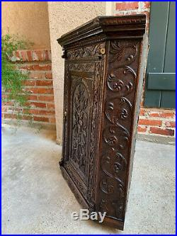 Antique English Carved Oak Corner Cabinet Wall or Counter Victorian Stag Deer