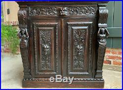 Antique English Carved Oak Victorian Wine Cabinet Bookcase Sideboard Server Lion