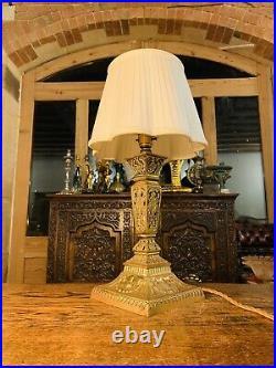 Antique English Cast Brass Regency Column Table Lamp, Victorian, Rewired