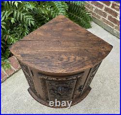 Antique English Corner Cabinet Carved Oak Hanging Wall Cabinet Storage Large 19C