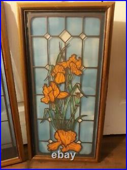 Antique English Handpainted Stained glass Window Victorian Era Set Of Two