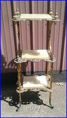 Antique English High Victorian Brass and Onyx Etagere Stand 1890s