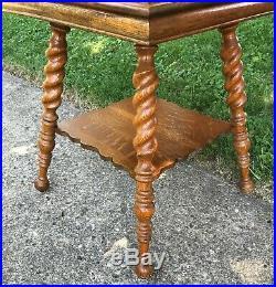 Antique English Oak Barley Twist Side Table Pedestal Stand Shelf Quarter Sawn