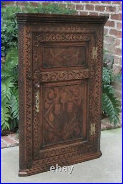 Antique English Oak CORNER Cabinet Hanging Wall Cabinet Linen Storage Large