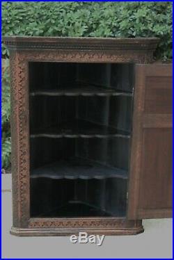 Antique English Oak CORNER Cabinet Hanging Wall Cabinet Medicine Storage Large