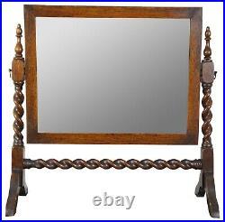 Antique English Oak Cheval Barley Twist Dresser Top Shaving Vanity Mirror 22