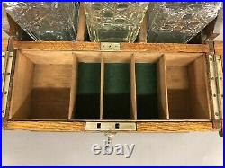 Antique English Oak Tantalus Triple Decanter Set 13 X 13 X 10 3/4