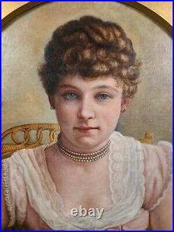 Antique English Oil Portrait Painting Victorian Woman 1800's 19th century Lady