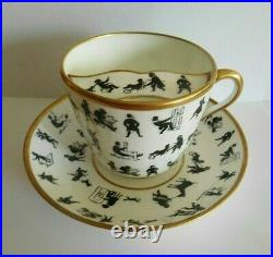 Antique English Porcelain Silhouette Breakfast And Moustache Cup And Saucer