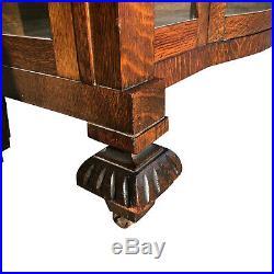 Antique English Quartersawn Oak Victorian Barley Twist Bookcase Curio Cabinet