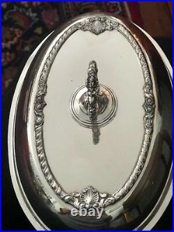 Antique English Silver-plated Covered Oval Serving Dish Hallmarked