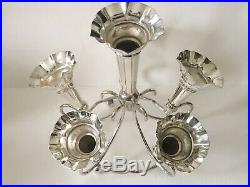 Antique English SilverPlate 6 Trumpet Epergne Floral Flower Arranger Centerpiece