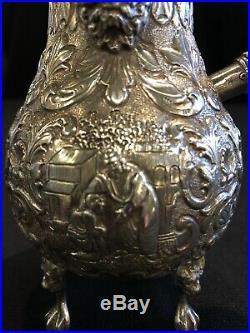 Antique English Sterling Silver Repousse Single Serve Tea Pot with Wood Handle
