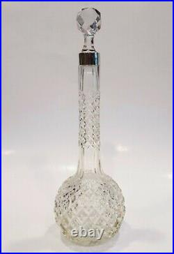 Antique English Victorian 1898 Cut Crystal & Sterling Silver Perfume Bottle