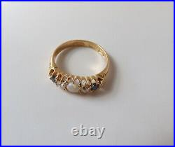 Antique English Victorian 18K Gold Five Stone Ring With Opal, Diamonds & Sapphires