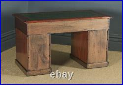 Antique English Victorian 4ft Mahogany & Leather Pedestal Office Desk Table