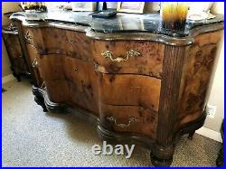 Antique English Victorian Burr(Burl) Walnut Five Piece Bedroom Set