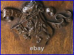 Antique English Victorian Carved Wooden Oak Panel