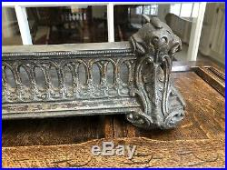 Antique English Victorian Cast Iron Fireplace Coal Fender Surround Bookshelf
