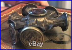 Antique English Victorian Glass Intaglio Wax Seal 5 Sided Wheel Stamp As Is