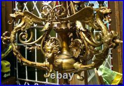 Antique English Victorian Gothic Bronze DragonGriffin 3 Light Chandelier