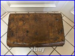 Antique English Victorian Immigrant Metal Steamer Trunk With Handles Signed