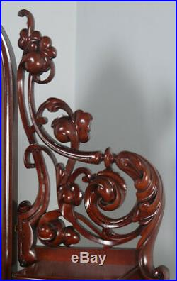 Antique English Victorian Mahogany Pedestal Makeup Dressing Table Mirror c. 1870
