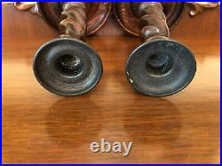 Antique English Victorian Original Oak & Brass Barley Twist Candlesticks 9