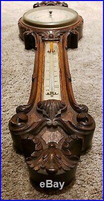 Antique English Victorian Ornate Carved Walnut Wall Barometer J. Hicks London
