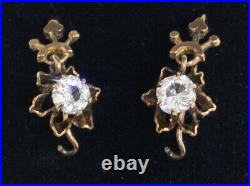 Antique English Victorian Paste Articulated Pierced Earrings 9ct 10k Yellow Gold