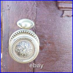 Antique English Victorian Quarter Sawn Oak Carved Panel Single Door 19th century