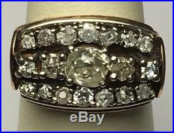 Antique English Victorian Rose Gold Cluster Ring Mine Diamonds Over 1.5 Ctw Sz 7