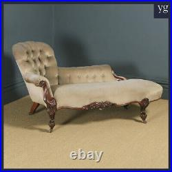 Antique English Victorian Rosewood Upholstered Chaise Longue Sofa Couch