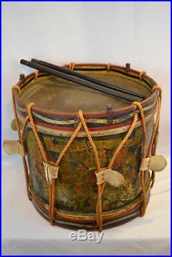 Antique English Victorian Royal Scot Fusilliers Regimental Drum Original Rare