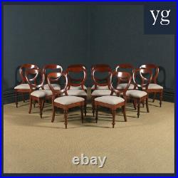 Antique English Victorian Set of 12 Twelve Mahogany Balloon Back Dining Chairs