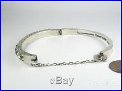 Antique English Victorian Silver Foiled Paste Slim Cuff Bangle / Bracelet