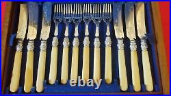Antique English Victorian Silver-Plated Fish Knives and Forks