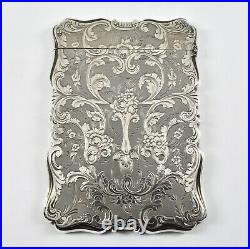 Antique English Victorian Solid Silver Card Case, (Alfred Taylor, 1854)